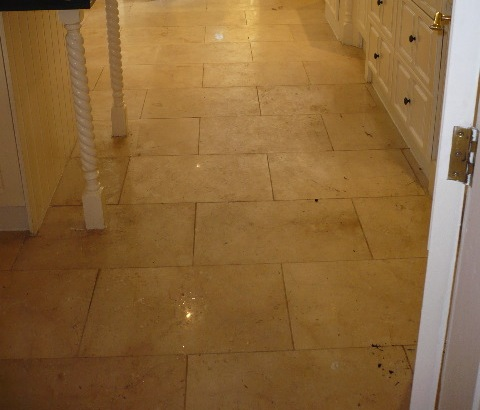 Polished Marble Tile before cleaning and reburnishing