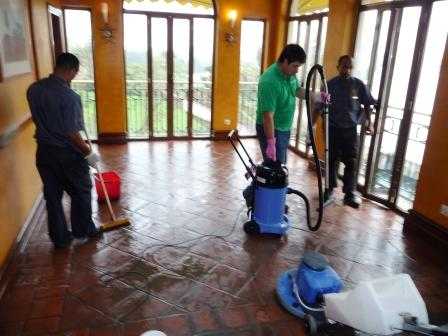 Terracotta Restaurant floor during cleaning by the Tile Doctor team