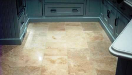 Travertine Floor after Cleaning, Sealing and grout recolouring.