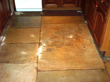 Sandstone floor after sealing
