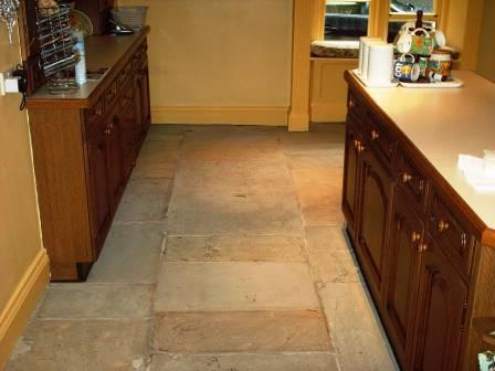 Sandstone Floor before Cleaning and Sealing
